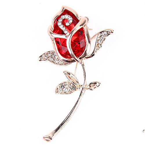Whitelotous Fashion Flower Rose Crystal Rhinestone Brooch Pin 1.61 x 2.64 x 0.28 inch (Red) (Flower Shirts Red)