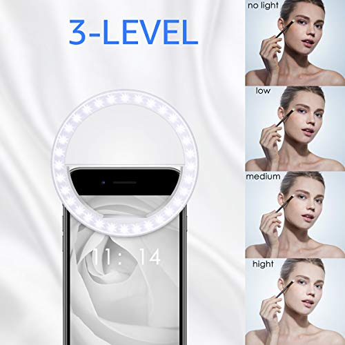 Fodizi Selfie Clip On Ring Light for Smart Phone Camera iPhone iPad Androids Vlogging on Instagram Facebook YouTube - 36 Rechargable LED Phone Light by Fodizi (Image #1)