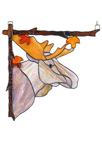 Stained Glass Moose Window Hanging, Left