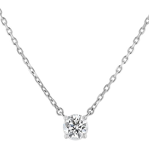 Olivia Paris Certified 3/4 Carat 14K White Gold Round Diamond Solitaire Necklace (G-H, SI1-SI2), 18