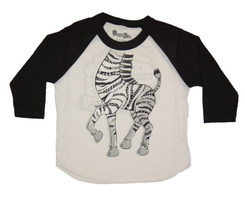 Peek-A-Zoo Toddler 3/4 Sleeve Zebra Tee, Zebra Black, ()
