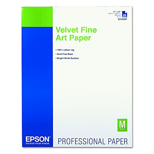 Epson S042097 Velvet Fine Art Paper, 17 x 22, White (Pack of 25 Sheets) ()