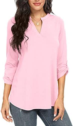 NILOUFO Womens Summer Shirts Notch V Neck Blouses 3/4 Roll Sleeve Tunic Tops
