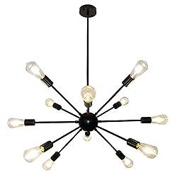 Interior Lighting Black Sputnik Chandelier, LynPon 12 Lights Modern Light Fixture Mid Century Ceiling Light Industrial Vintage Pendant… modern ceiling light fixtures