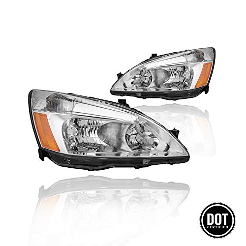 Replacement Headlight Assembly GHDAC03-A2 For 03 04 05 06 07 Honda Accord Headlight Assembly OE Headlamp Replacement, Chrome Housing Clear Lens, One-Year Limited - Accord Headlights