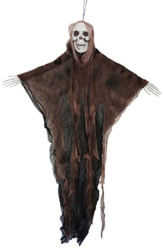 35 Inch Hanging Fabric Poseable Skull Ghost Halloween Decoration (Brown) (Best Halloween Porch Decorations)