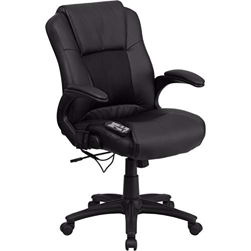 Offex BT-2536P-1-GG Massaging Executive Office Chair, Black Leather
