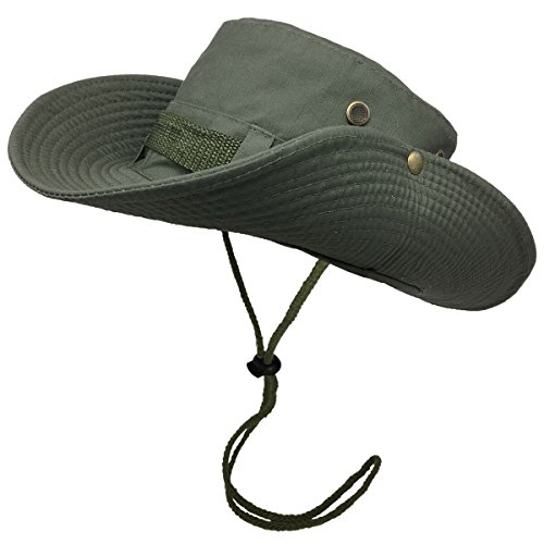 Bodvera Outdoor Fishing Bucket Hat Sun Boonie UV Protection Cap Summer Camouflage Hat with Side Snap Chin Cord, Army Green