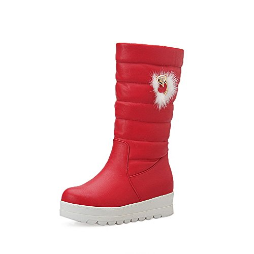 AllhqFashion Womens Solid PU Kitten-Heels Pull-On Round Closed Toe Boots Red P5pz4