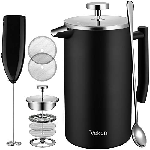 Veken French Press Double-Wall 18/10 Stainless Steel Coffee & Tea Maker, Multi-Screen System, 2 Extra Filters Included, Rust-Free, Dishwasher Safe, (1L), Black