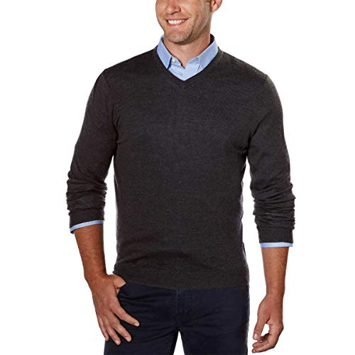 Calvin Klein Men's Merino Solid V-Neck Sweater (Ansa Grey, Medium)