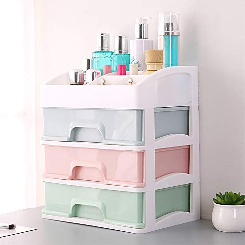 Hot Sale!DEESEE(TM)Large Cosmetic Storage Box Table Drawer Type Skin Care Products Storage Rack (Khaki)