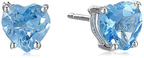 Swiss Blue Topaz Heart Shaped Stud Earrings in 10k White (Heart Shaped Topaz)