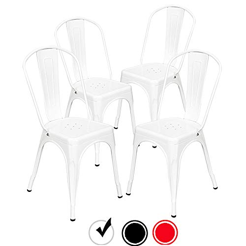 Bonnlo Metal Dining Chairs Stackable Kitchen Dining Chairs Set of 4 Industrial Bistro Café Side Chairs Indoors Tolix Style Side Chairs (White)