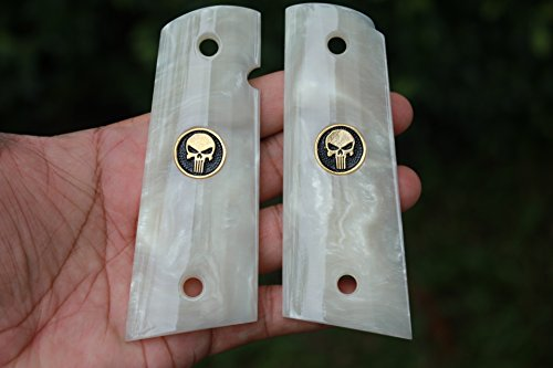 NEW!! Magwell Cut 1911 Full size Imitation White Pearl Grips Fits Colt Government and Commander Kimber, Springfield, Remington, Taurus PT 1911, Smith&Wesson with Punisher Skull Gold Color Logo