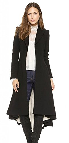 Tengfu Womens Long Woolen Blazer Trench Coat With Dovetail Slim Fit