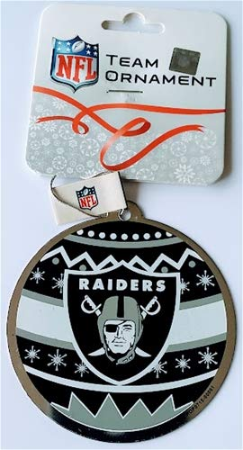 Oakland Raiders Metal Ornate Ball Ornament