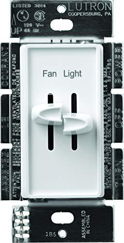 Lutron S2-LFSQ-WH Skylark Dimmer & Fan Control, White (Ceiling Lights Dimmer)