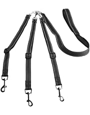 3 Dog Lead, IDEAPRO Reflective Detachable 3 Way Dog Leash Handlepadded Adjustable Triple Dog Coupler Traction Rope for Walking One, Two, Three Dogs