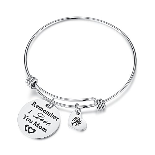 Women Jewelry Remember I Love You Mom Adjustable Bangle Bracelets with Heart Tree of Life Charm, Mothers Day Gifts for Women, Mom, Grandmother from Daughter Son, Mom in law Gifts (mom-silver)