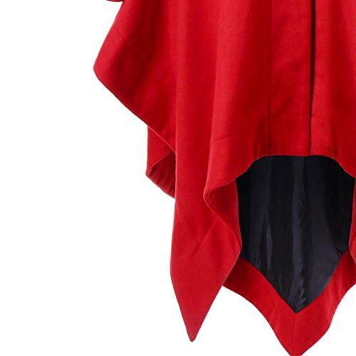 Chaqueta Abrigo Capa Outwear Cuello de Chaqueta Overcoat Largo Piel Invierno IMJONO Mujeres Caliente Rojo de Jacket con Desgastar de Parka Capucha Parka ntPaY