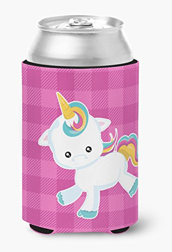Caroline's Treasures Pink Plaid Unicorn Can or Bottle Hugger, Can Hugger, - Unicorn Koozie