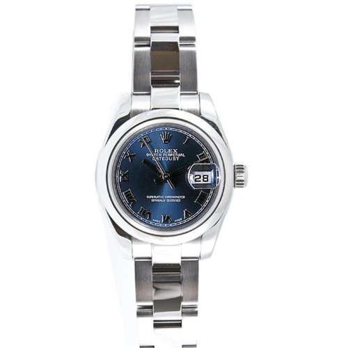 Rolex Ladys 179160 Datejust Stainless Steel Oyster Band, Smooth Bezel & Blue Roman Dial