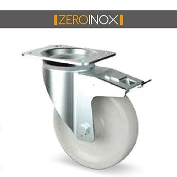 ZeroInox Ruedas Acero/Poliamida O Zinc/Poliamida con y Sin Freno - con Placa 4 Agujeros para carros, armarios, mesas: Amazon.es: Hogar