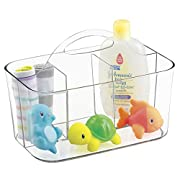 mDesign Nursery Storage Caddy Divided Bin - BPA Free - 4 Section Tote with Built-In Handle for Organizing Bottles, Spoons, Bibs, Pacifiers, Diapers, Wipes, Baby Lotion - Clear
