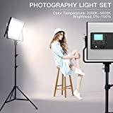 SAMTIAN LED Video Light 2 Packs Dimmable Studio Lights Bi-Color Video Light Panel with LCD Display, U Bracket, 79 Inches Light Stand, CRI 96+ for Video Professional Shooting,Studio Photography