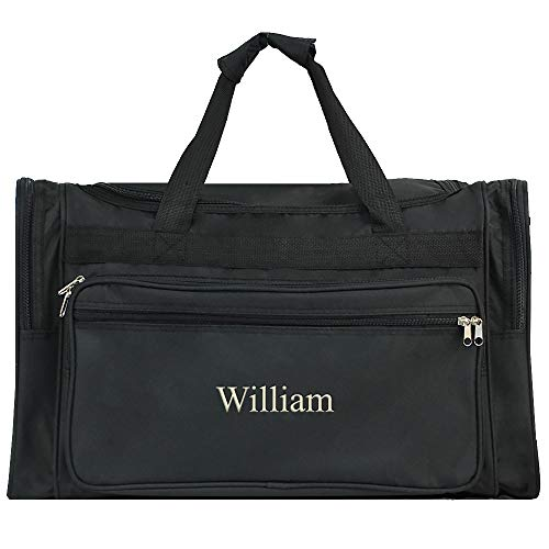 Personalized Mens Large Black Overnight | Gym Duffle Bag 22 Inch -