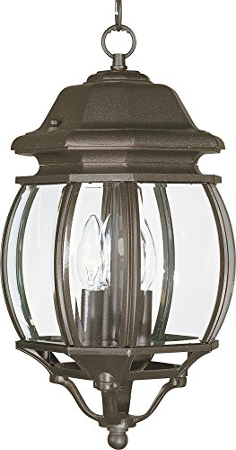 Maxim 1036RP Crown Hill 3-Light Outdoor Hanging Lantern, Rust Patina Finish, Clear Glass, CA Incandescent Incandescent Bulb , 60W Max., Damp Safety Rating, Standard Dimmable, Frosted Glass Shade Material, Rated Lumens
