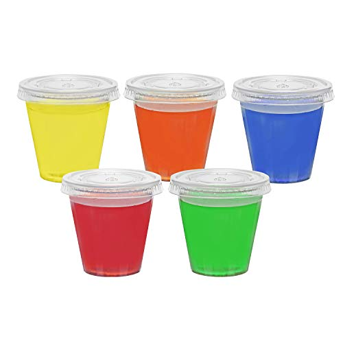 - Toasted Drinkware Squeezable Plastic Clear 2 oz Jello Shot Glasses with Lids (100 Sets) Shaped Like Actual Shot Glasses!