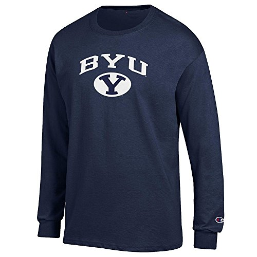 Elite Fan Byu Cougars Men's Long Sleeve Arch Tee, Navy, Large