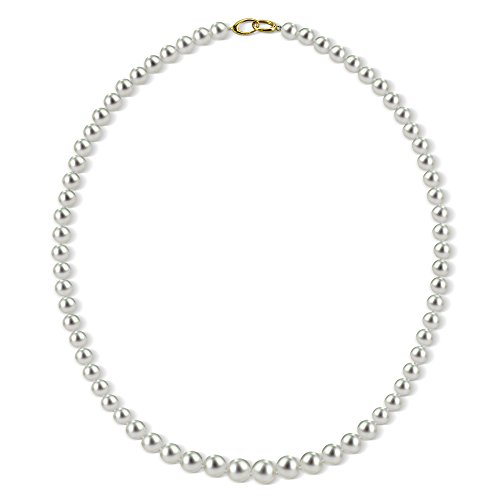 Graduated Cultured White Freshwater Pearl Necklace for Women 14K Yellow Gold 18 inch 6-8.5mm by La Regis Jewelry