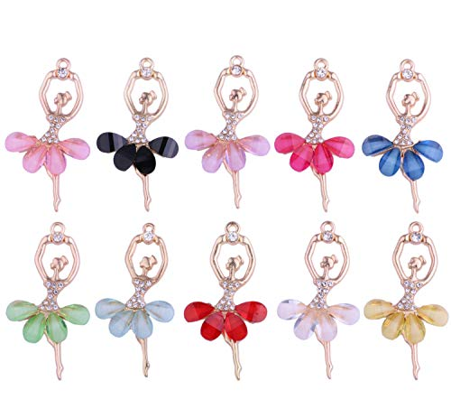 Charm Resin Jewelry (10pcs Mix Color Alloy Inlaid Rhinestone Resin Cute Ballet Dancing Girl Women for DIY Necklace Pendant Charm Jewelry Making)