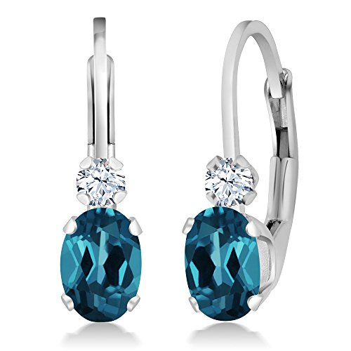 Gem Stone King Sterling Silver London Blue Topaz and White Sapphire Leverback Earrings 1.18 cttw Gemstone Birthstone Blue Sapphire Blue Topaz Earrings