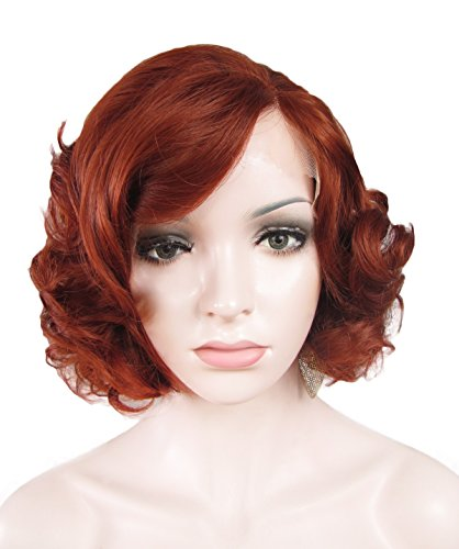 Imstyle Short Bob Auburn Wave Lace Wig Heat Resistant Reddish Brown Synthetic Hair Wig for Women (Reddish Auburn)