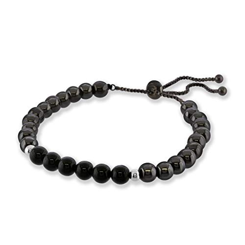 Believe London Hematite Magnetic Therapy Bracelet with Jewelry Bag & Meaning Card | Strong Elastic | Precious Natural Stones Healing (Slim Hematite & Tourmaline Adjustable Length)