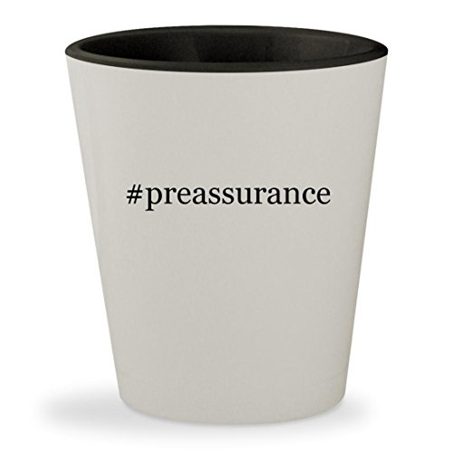 #preassurance - Hashtag White Outer & Black Inner Ceramic 1.5oz Shot Glass (Oven Preassure)