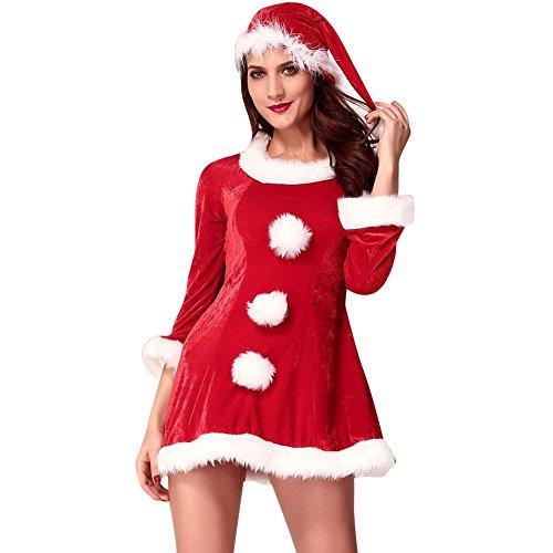 iecool Women's Sexy Festive Sleigh Belle Santa Costume Red One Size (Sleigh Belle Sexy Costume)