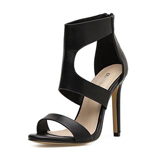 Sandalias Alto Club del BLACK Vestir Señoras Tacón furtivamente Zapatos Fiesta Mujeres Estilete Mirar nocturno Hueco pie Cremallera marrón Negro Dedo Y4qxgw8