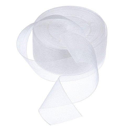 Honbay 50 Yards Shimmer Sheer Organza Satin Ribbon (White)