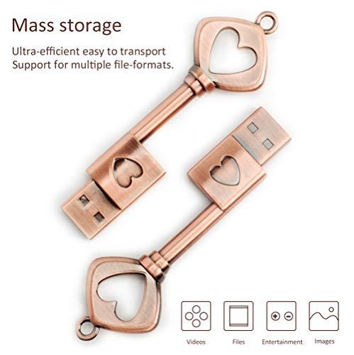 32GB USB 2.0 Flash Drive BorlterClamp Memory Stick Retro Metal Love Heart Key Shaped Thumb Drive