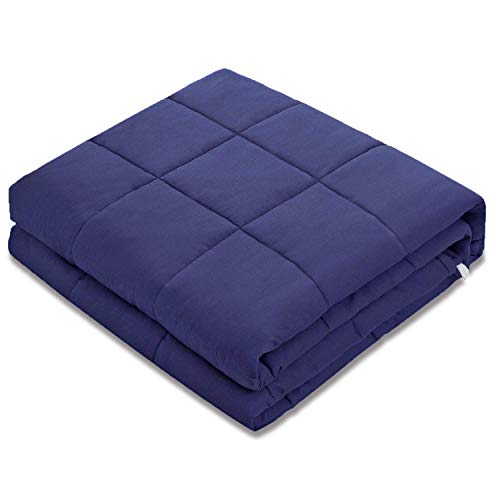 Amy Garden 7 Layers Breathable 100% Cotton Preminum Weighted Blanket (48x72 Inch,15 lbs for 120-180 lbs Individual, Navy) | 2.0 Adults and Kids Heavy Blanket]()