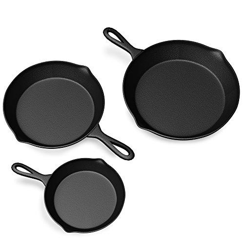 Pre Seasoned Cast Iron Skillets - 3 Pan Set - 9 inches, 8 inches, 6 inches - 1.5 to 2 inches deep - Durable with Strong Handle - Great for both veggies and meat