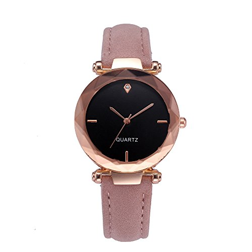 (WANQUIY Watches for Women Fashion Casual Faux Leather Crystal Wristwatch Ladies Office Analog Quartz Wrist Watches Pink)