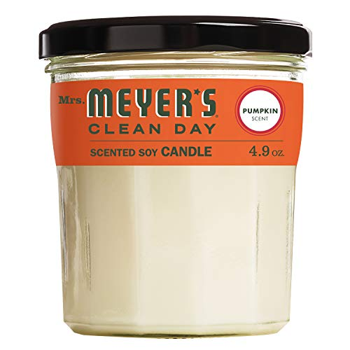 Mrs. Meyer's Clean Day Scented Soy Candle Small Glass, Pumpkin, 4.9 Ounce