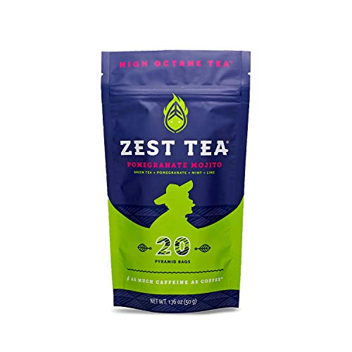 - Zest Tea Energy Hot Tea, High Caffeine Blend Natural & Healthy Black Coffee Substitute, Perfect for Keto, 135 mg Caffeine per Serving, Pomegranate Mojito Green Tea, 20 Sachets (1 Pouch)