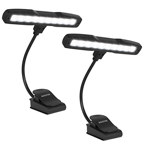 Kootek 2 Pack Clip On Reading Light - 10 LED Rechaegeable Book Lights, Music Stand Light Piano Orchestra Lamp with Adjustable Neck USB Desk Lamps